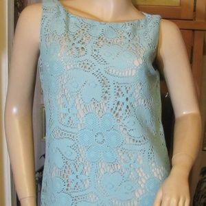 AK Anne Klein Aqua Blue Lace Dress size L